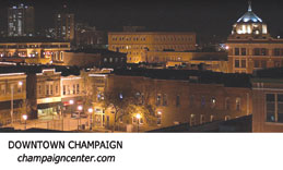 Evening scene of Downtown Champaign, Illinois