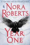 "Book cover for ""Year One"" by Nora Roberts. Red text, gray background, large crow in center."
