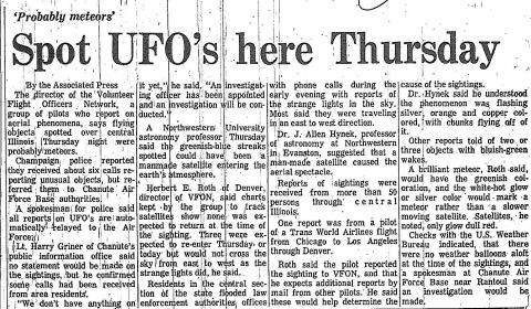 "Urbana Courier Article, ""Spot UFO's here Thursday,"" June 6, 1969"