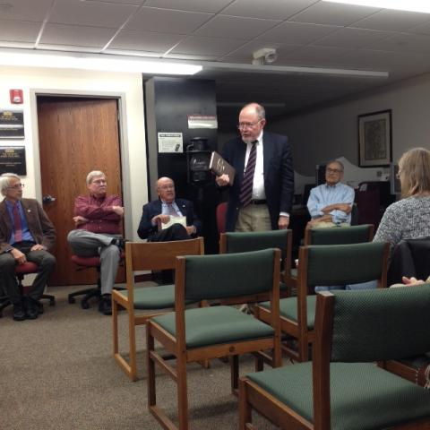 Fred Schlipf, former director of The Urbana Free Library, presenting at Authors Panel, October 25, 2014