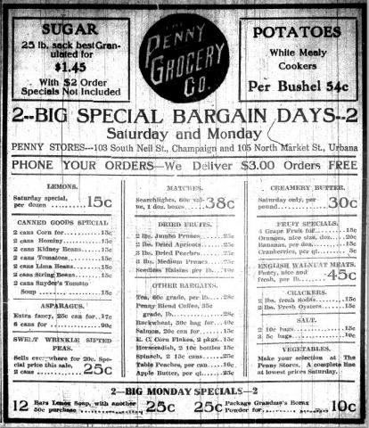 Penny Grocery Co. advertisement, March 26, 1915