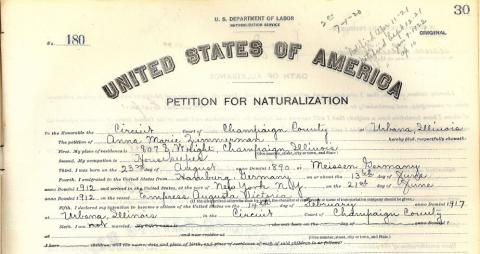 Petition for Nationalization, Anna Marie Zimmerman, 1917