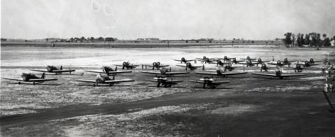 Airplane Formation Preparing for Flight, 1937