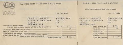 Telephone bill from 1943
