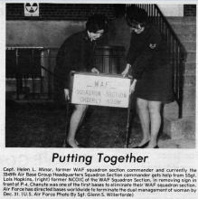 Helen L. Minor Removing Sign for WAF Squadron, 1975