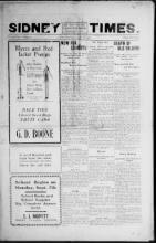 Sidney Times newspaper, August 28,1908, front page