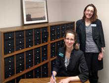 Celeste Choate, Executive Director of The Urbana Free Library and Anke Voss, Director of Archives & Special Collections
