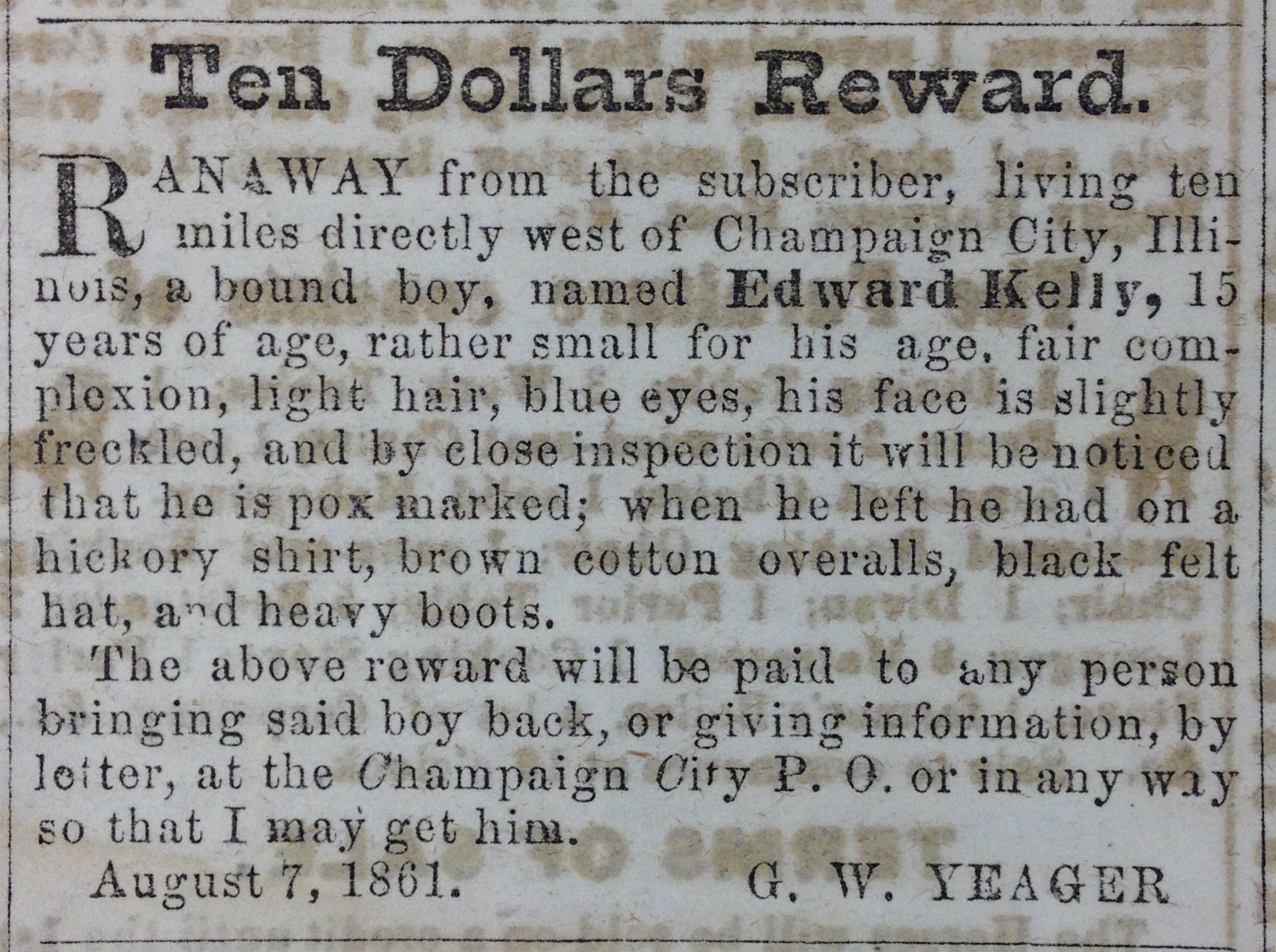 Runaway Notice, Central Illinois Gazette