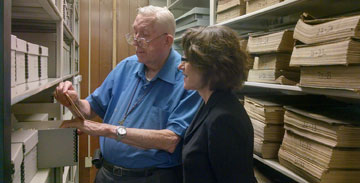 Robert McCandless with former Archives Director Anke Voss, 2013
