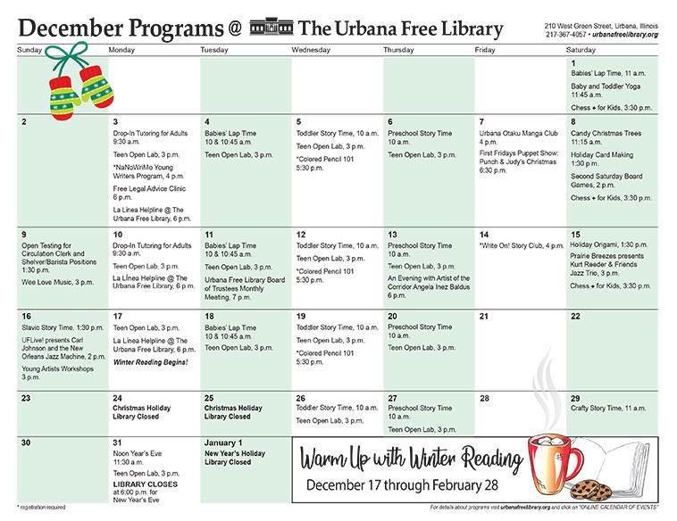 Program Calendar Urbana Free Library