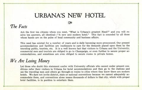 Pamphlet produced by the Urbana Hotel Corporation in 1921.