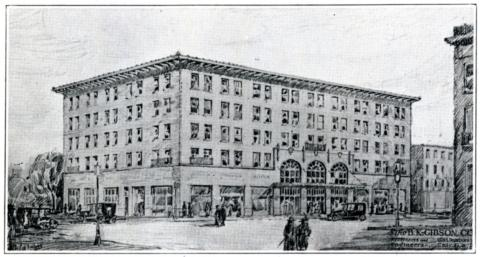 Sketch of a proposed hotel for downtown Urbana, 1921.