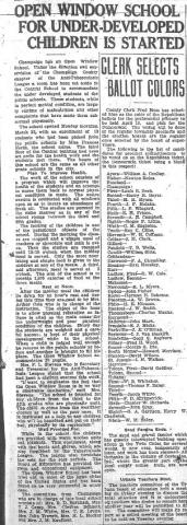 Open window school for under-developed children is started, News-Gazette 28 March 1920 pg.1