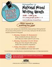 poster for the Young Writers Program NaNoWriMo at The Urbana Free Library