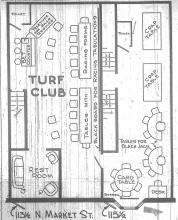 Floor plan for the Turf Club located at 113 ½ & 115½ N. Market St., Champaign