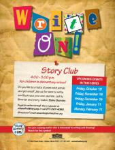 poster for Write On! Story Club at The Urbana Free Library