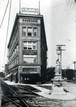 Flat Iron Building with Women's Temperance Statue, undated