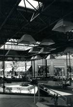 Downtown Champaign Mall, under pavilion