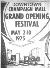 Downtown Champaign Mall Grand Opening, Courier April 27, 1975