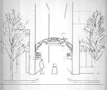 Rendering of Crane Alley arch, 1986