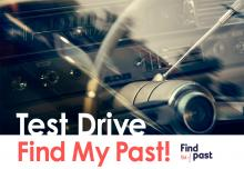Graphic of car dashboard with the text 'Test Drive Find My Past'