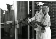 Edith Roberts at the ribbon cutting ceremony for Roberts Hall