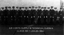 Group Photograph, Air Corps Supply and Techinical Clerks Class 1, January 25, 1935; Greene is the fourth from the left