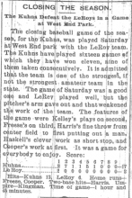 "Newspaper article titled ""Closing the Season"" from the front page of the Champaign Daily Gazette, September 23, 1895"