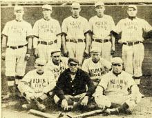 Photograph of Kuhn's Clippers in 1895 with the Jos Kuhn & Co. slogan on their jerseys
