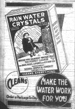 Black and white newspaper advertisement for Rain Water Crystals water softener, News-Gazette, July 8, 1920