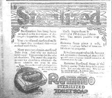 Black and white advertisement for Remmo Sterilized Toilet Soap, Courier, July 2, 1920
